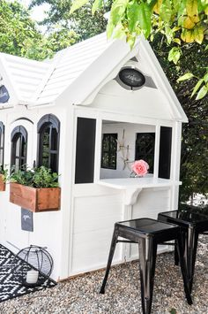 When we first bought our house, in place of a neglected side yard with overgrown rose bushes, I imagined an area where the kids could play. Not too long after that, out went the rose bushes and in … Girls Playhouse, Build A Playhouse, Playhouse Outdoor, Outdoor Play, Playhouse Ideas, Wooden Playhouse, Cubby Houses, Play Houses, Outdoor Spaces