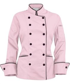 pink chef jacket | Chef Coat Pink/Black XS | Living Light International
