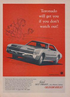 1966 oldsmobile toronado muscle car ad vintage automobile advertisement print man cave garage wall art decor
