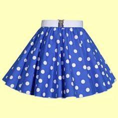 Childs Royal Blue with White Polkadot Full Circle Skirt