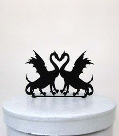 Wedding Cake Topper - deux Dragons en amour Silhouette Cake Topper