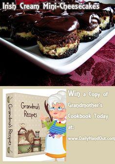 Irish Cream Mini-Cheesecakes Recipe from Grandmothers Kitchen Cheescake Recipe, Mini Cheesecake Recipes, Cookbook Recipes, Dessert Recipes, Good Desserts To Make, Mini Cheesecakes, Eat Dessert First, Mini Cakes, Eat Cake