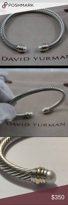 """David Yurman 5mm Pearls with Gold Bracelet Excellent Like New Pre-Owned Condition Authentic DAVID YURMAN  David Yurman Cable Classics Bracelet with Pearls and Gold, 5mm  Size: Medium   Retail $625 Sterling silver and 14K Gold White Cultured Freshwater Pearls 5.75-6mm Diameter  5mm wide  Comes with David Yurman Pouch  Hallmarked """"© DY"""",""""925"""" """"585""""  Please look at all pictures for details as this is the actual bracelet you are buying. David Yurman Jewelry Bracelets"""