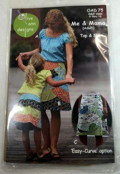 Me & Mama (Adult) Olive Ann Designs Sewing Pattern Women Sz  4-16 Top Skirt NIP #OliveAnnDesigns
