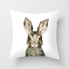 Little Rabbit Throw Pillow by Amy Hamilton - $20.00