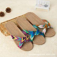 2016 di modo di lino pantofole piano indoor scarpe nastro trasversale silenzioso sudore pantofole per le donne di estate sandali(China (Mainland))
