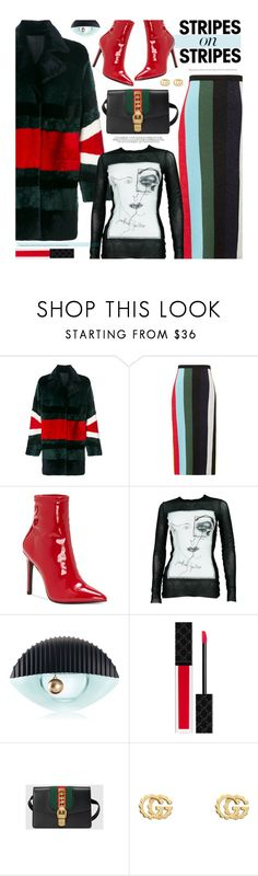 """Pattern Challenge: Stripes on Stripes"" by beebeely-look ❤ liked on Polyvore featuring Drome, Diane Von Furstenberg, Jessica Simpson, Jean-Paul Gaultier, Kenzo, Gucci, stripesonstripes and PatternChallenge"