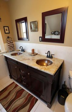 Double-sink vanity with copper bowls