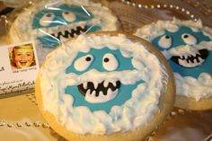 Mom's Killer Cakes & Cookies Bumble The Abominable Snowman Inspired Sugar Cookies Iced In White Chocolates Match Our Cake Pops via Etsy