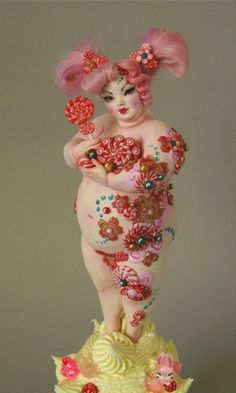 Candy Geisha by Nicole West. Fun OOAK Doll with Candy Canes and Frothy Cupcake! xx