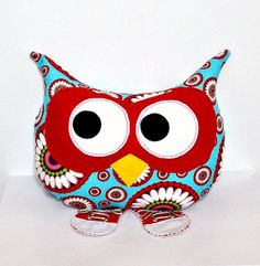 Stuffed Owl Plush Throw Pillow Animal Decorative Bed Owl Pillow Toy Turquoise Red Pink Lavender Red Sneakers. $50.00, via Etsy.