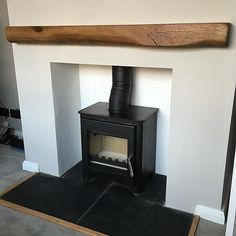 Well that's the fireplace done, little multi fuel stove, reclaimed oak beam, lime rendering, slate hearth and a splash of Farrow and Ball… Empty Fireplace Ideas, Remodel, Slate Fireplace, Fireplace Hearth, Reclaimed Oak Beams, Oak Beam Fireplace, Reclaimed Oak, Interior Design Living Room, Slate Hearth