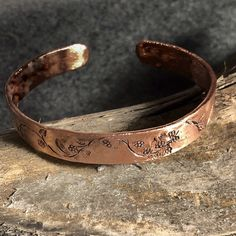 Engraved Copper Bracelet Gift For Her Flowers Personalized Womens Cuff Bangle