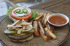 coconut bacon cheeseburger yucca fries luvburger   - Costa Rica