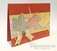 Magnificent Maple Stampin Up, Fall card ideas Thank You Card Sample, Thank You Cards, Scrapbook Page Layouts, Scrapbook Cards, Scrapbooking, Anna Griffin Cards, Thanksgiving Cards, Fall Cards, Pretty Cards
