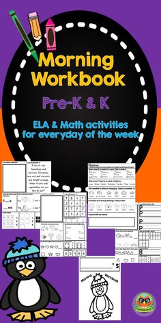 Morning Workbook for Pre-K and Kindergarten...ELA and Math Activities for everyday