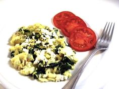 137 calorie egg white and spinach scramble. [✓] Well, I did something similar.  I sauteed spinach, broccoli, green pepper, and mushroom, and then added some liquid egg and scrambled it all up.  I don't eat cheese, so this was quite delicious. ;)