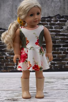 Cream floral knit sleeveless dress by Closet4Chloe on Etsy. Made with the Versatility Dress pattern, found here http://www.pixiefaire.com/products/the-versatility-dress-18-doll-clothes. #pixiefaire #versatilitydress