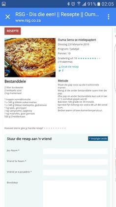 South African Dishes, South African Recipes, Savoury Baking, Savoury Dishes, Quiche Recipes, Tart Recipes, Braai Recipes, Cooking Recipes, Pap Recipe
