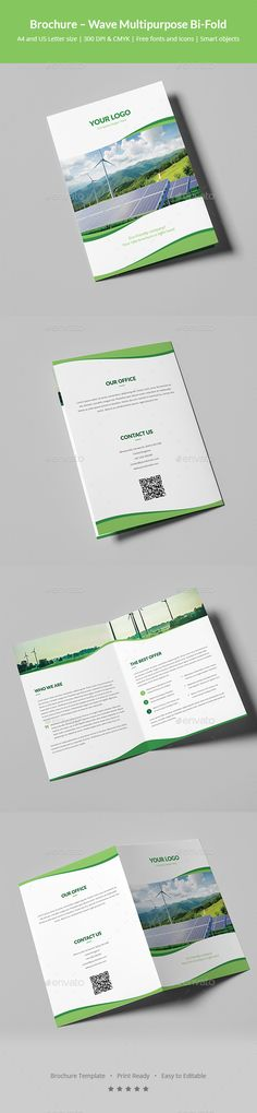 Wave Multipurpose Bi-Fold Brochure Template PSD - A4 and US Letter Size