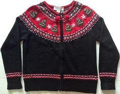 Tiara International Beaded Ugly Christmas Cardigan Sweater Top Jacket Sz L #Tiaranternational #Cardigan