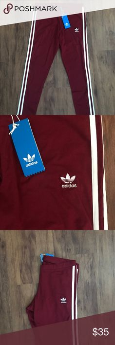 NEW Adidas Originals 3-stripe leggings BURGUNDY Burgundy Adidas 3-stripe leggings/ brand new with tags/ size Large (THIS IS THE ORIGINAL PRICE. I AM NOT ACCEPTING OFFERS OR TRADES) adidas Pants Leggings