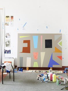 Melbourne artist Jon Campbell in his studio.  Photo - Eve Wilson for thedesignfiles.net
