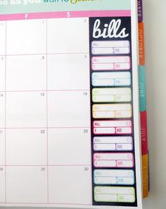 3 Bill Tracker Monthly Sidebar Stickers for Erin Condren Planner, Filofax, Plum Paper