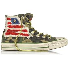 Converse Limited Edition Designer Shoes All Star Hi Canvas LTD Camo... (€125) ❤ liked on Polyvore featuring shoes, sneakers, converse, camouflage sneakers, lace up sneakers, laced up shoes, canvas shoes and converse shoes