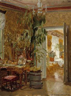 "Adolf von Becker (Finnish, - ""Interior from the Hallonblads' Home, Hympölä Manor"", 1888 Oil Painting Gallery, Art Gallery, Oil Painting Reproductions, Light Painting, Illustrations And Posters, Beautiful Artwork, Art Museum, Art Photography, Illustration Art"
