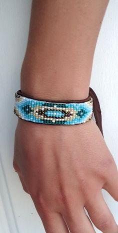 Native American Beaded Bracelet Brown Turquoise by HairTrigger, $45.00