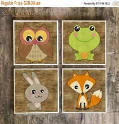 ON SALE Woodland Animals Drink Coasters Set by SRVintageandDesigns