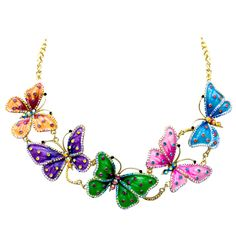 5 Butterflies Crystal Necklace