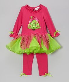 Loving this Rare Editions Fuchsia & Lime Dress & Leggings - Infant & Toddler on #zulily! #zulilyfinds