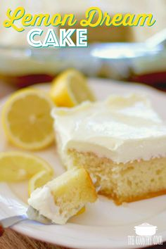 EASY LEMON DREAM CAKE (+Video) The Country Cook – Lemon Dream Cake starts with a boxed cake mix swirled with lemon pie filling. All topped with a creamy, lemony whipped topping! Easy and yummy! 13 Desserts, Lemon Desserts, Lemon Recipes, Delicious Desserts, Yummy Recipes, Cooking Recipes, Yummy Food, Healthy Recipes, Cooking Videos