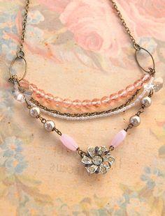 vintage rhinestone layered necklace