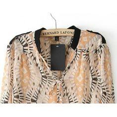 Geo Print Epaulet Flat Collar Chiffon Shirt for Women