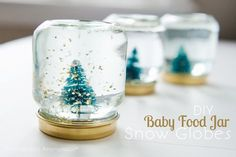 Have+a+bunch+of+baby+food+jars+hanging+around?+Here's+a+great+upcycle+for+all+those+cute+little+jars!+Turn+them+into+mini+snow+globes+with+a+few+household+items.+Baby+Food+Jar+Snow+Globes+are+easy+to+create+and+make+a+fantastic+gift+idea! This