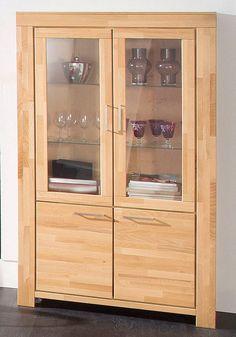 vitrine vitrinenschrank highboard schrank kiefer weiss b110 cm disea in m bel wohnen m bel. Black Bedroom Furniture Sets. Home Design Ideas