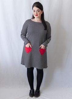 Tutorial: How to Sew Heart Pockets - Sweeten up Any Make!         Pattern: Tilly and the Buttons Coco Dress and Top Sewing Pattern Fabr...