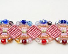 Coral macrame bracelet, beaded, micro-macrame, beadwork, beadwoven, bohemian, boho chic, gypsy queen, colorful, knots, cuff, gift for her