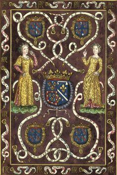 «Devise du Prince & de la Princesse de Condé» (Tapisserie sur laquelle sont brodées des armoiries mi-parties : écartelées Bourbon/Alençon (qui est Condé) ; et d'Orléans-Rothelin. Un collier de l'ordre de Saint-Michel entoure quatre autres écus mis aux coins, écartelés Bourbon/Bourbon) -- Gaignières 1743 [BNF, Réserve Pc-18-Fol.]