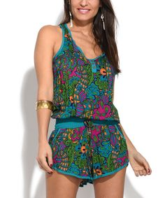 Take a look at this Baba Design Green Abstract Blouson Romper today!
