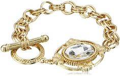1928 Jewelry Gold-Tone Crystal Faceted Oval Stone Toggle Link Charm Bracelet * Read more reviews of the product by visiting the link on the image.