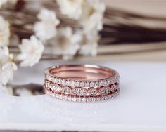 Wedding Ring Set Solid 14K Rose Gold Diamond Engagement Ring Set Half Eternity Stackable Matching Band These stacks could look nice with your ring, or wear alone for when the engagement ring is at home