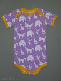 Circus animals violet bodysuit - Bright liberty purple short sleeve bodysuit with circus animal pr...