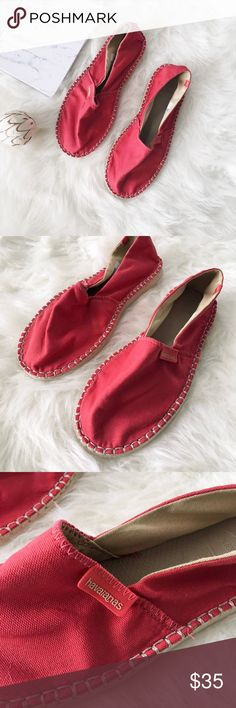 nwt//havaianas • red slip on espadrilles 🛍: havaianas ▫️red espadrilles ▫️heat resistant, non slip, water resistant ▫️rubber sole ▫️made in Brazil ▫️size: 6.5 ▫️condition: new; please note that these do not come in a box or with tags. This is factory with this brand & style of shoe. They come with a hangar as the tag (seen in 5th photo)  •please see all pics, read description, and ask questions before purchasing  •no trades• Havaianas Shoes Espadrilles