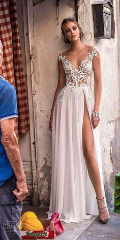 muse berta 2018 bridal cap sleeves v neckline heavily embellished bodice high slit skirt sexy romantic soft a  line wedding dress open v back sweep train (3) mv -- Muse by Berta 2018 Wedding Dresses