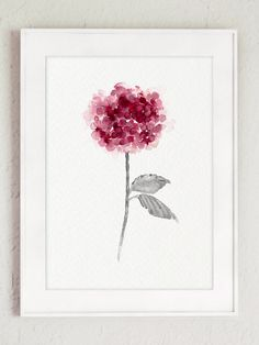 Rose hortensia Set 2 Shabby Chic décor par ColorWatercolor sur Etsy