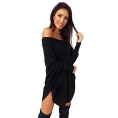 8b6a6ad9eb29 Donna Autunno Invernale Maglione Vestito Sexy Senza Spalline Maglieria  Maniche Lunghe Maglione Mini Abito